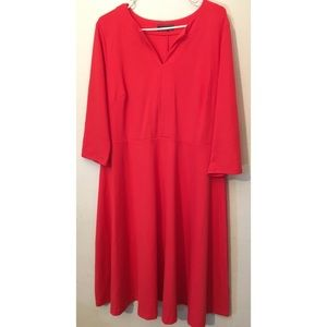 Lands end coral pink a-line long sleeve dress